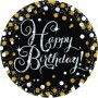 Round Black, Gold & Silver Sparkling Celebration Happy Birthday! Dinner Plates 23cm Pack of 8