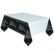 Black, Gold & Silver Happy Birthday Sparkling Celebration Plastic Table Cover 1.37m x 2.59m
