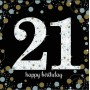 21st Birthday Lunch Napkins 33cm x 33cm Black, Gold & Silver Pack of 16
