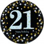 21st Birthday Dinner Plates 23cm Black, Gold & Silver Pack of 8