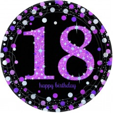 Round Pink, Black & Silver 18th Birthday Pink Celebration Prismatic Dinner Plates 23cm Pack of 8