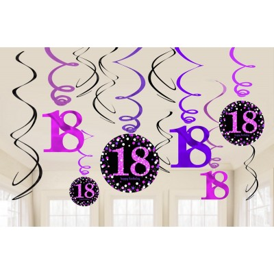 18th Birthday Hanging Decorations Black Pink Silver Pack Of 12 537