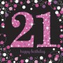 21st Birthday Lunch Napkins 33cm x 33cm Black, Pink & Silver Pack of 16