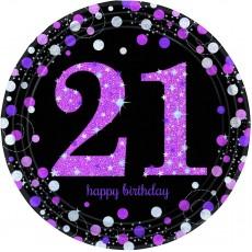 21st Birthday Dinner Plates 23cm Pink, Black & Silver Pack of 8