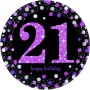 21st Birthday Dinner Plates 23cm Pink, Black & Silver Pack of 8