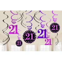 21st Birthday Hanging Decorations Black, Pink & Silver Pack of 12