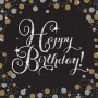 Happy Birthday Lunch Napkins 33cm x 33cm Black, Gold & Silver Sparkling Pack of 16