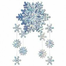 Christmas Iridescent Snowflakes Mobile Hanging Decoration 55cm
