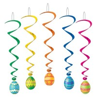 Easter Hanging Decorations 100cm Easter Eggs Whirls Pack of 5