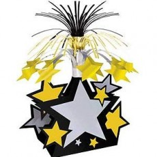 Gold, Silver & Black New Year Star Cascade Centrepiece 38cm
