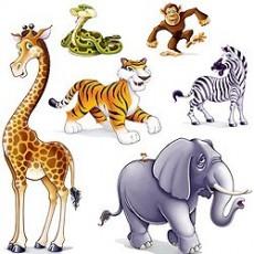 Jungle Animals Cutouts 37cm - 1.6m Pack of 6