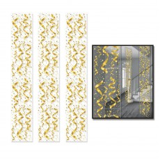Gold Streamers & Stars Party Panels Hanging Decorations 30cm x 1.82m Pack of 3