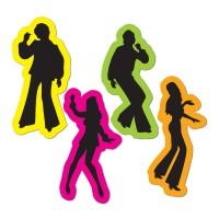 Disco & 70's Cutouts 36cm 70's Silhouttes Retro Figures Pack of 4