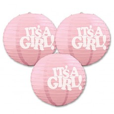 Baby Shower - General Lanterns 24cm It's a Girl Pack of 3