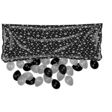 New Year Black & Silver Stars Balloon Release Drop Bag Balloon Net 91cm x 2m