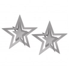 Star Christmas 3D Silver Star Hanging Decorations Pack of 2