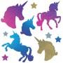 Unicorn Fantasy Unicorns & Stars Holographic Glittered Cutouts Pack of 10