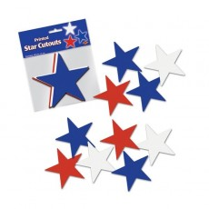 Australia Day Cutouts 13cm Blue, Red, White Pack of 10