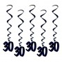 30th Birthday Hanging Decorations 90cm Black Pack of 5