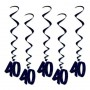 40th Birthday Hanging Decorations 90cm Black Pack of 5