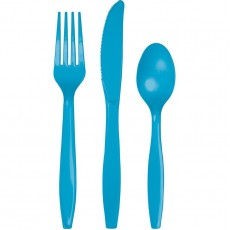 Turquoise Blue Plastic Cutlery Sets Pack of 24