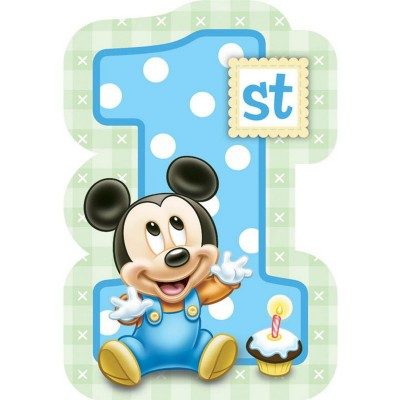 Boy Mickey Mouse 1st Birthday Invitations Blue Pack Of 8 169