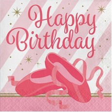 Twinkle Toes Lunch Napkins 33cm x 33cm Pack of 16 Happy Birthday