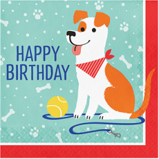 Dog Party Happy Birthday Lunch Napkins Pack of 16