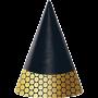 Black & Gold Foil Decor Cone Party Hats 15cm Pack of 8
