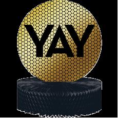 Black & Gold Foil Decor Honeycomb YAY Centrepiece 30cm x 23cm