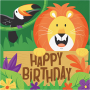 Jungle Safari Happy Birthday Lunch Napkins Pack of 16