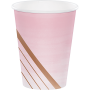 Rose Gold Bridal Shower Rose All Day Stripes Paper Cups 266ml Pack of 8