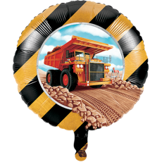 Round Big Dig Construction Foil Balloon 45cm