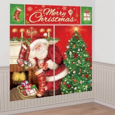 Christmas Party Decorations - Kit Magical Santa Scene Setter Wall