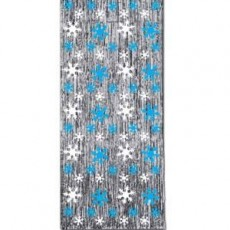 Metallic Silver, Blue & White Christmas Snowflake Door Decoration 91cm x 243cm