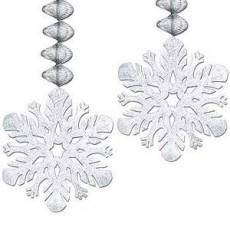 White Christmas Snowflake Danglers Hanging Decorations Pack of 2