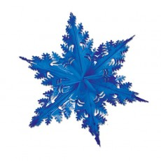 Metallic Blue Christmas Snowflake Hanging Decoration