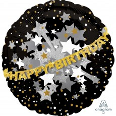 Happy Birthday Foil Balloons 71cm Gold Sparkling