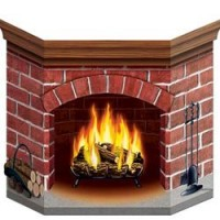 Christmas Misc Decorations 86cm x 60cm Brick Fireplace Stand Up Prop