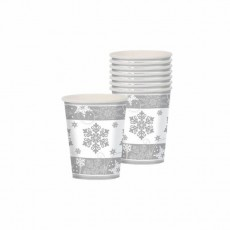 Silver & White Christmas Sparkling Snowflakes Paper Cups 266ml Pack of 8