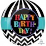 Happy Birthday Shaped Balloons 38cm x 40cm Dancing Lines Orbz