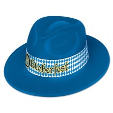 Blue Oktoberfest Velour Fedora Hat Head Accessory One Size Fits Most