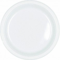 Round Frosty White Plastic Lunch Plates 17cm Pack of 20