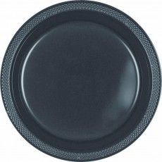 Round Jet Black Plastic Lunch Plates 17cm Pack of 20