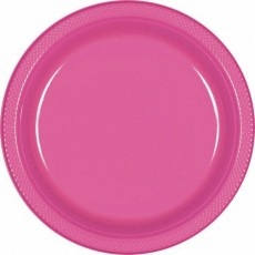 Round Bright Pink Plastic Lunch Plates 17cm Pack of 20