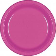 Round Magenta Plastic Lunch Plates 17cm Pack of 20