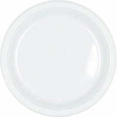 Round Frosty White Plastic Dinner Plates 22.9cm Pack of 20