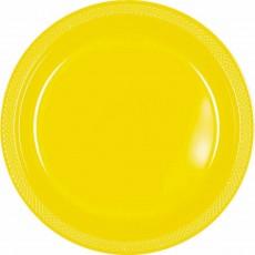 Round Sunshine Yellow Plastic Dinner Plates 22.9cm Pack of 20