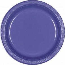 Round New Purple Plastic Dinner Plates 22.9cm Pack of 20