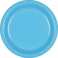 Round Caribbean Blue Plastic Dinner Plates 22.9cm Pack of 20